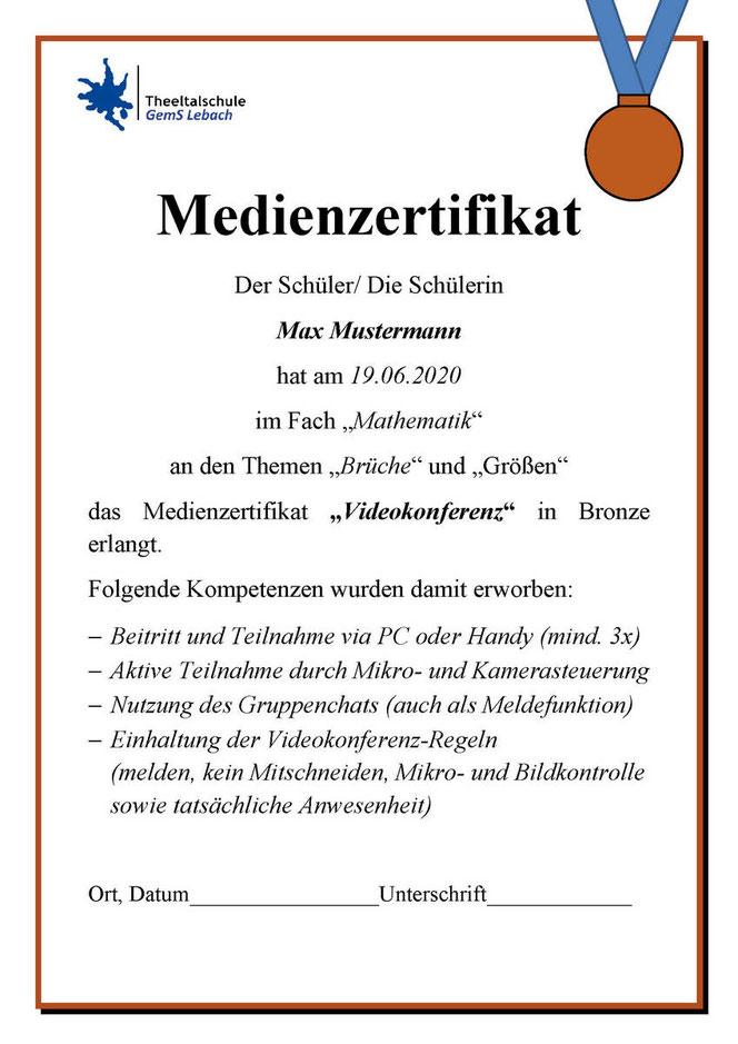 Medienzertifikat in Bronze