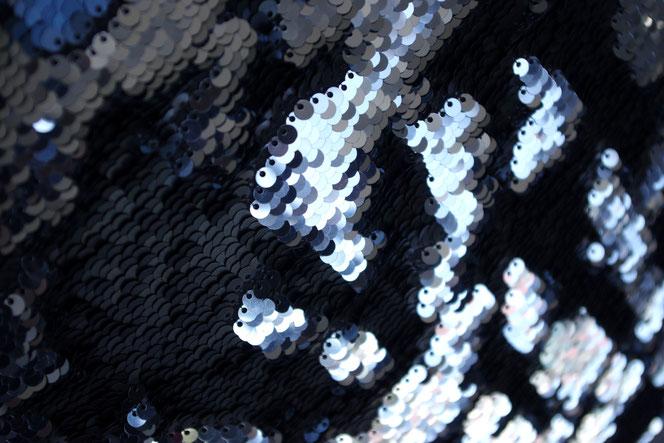 Kissen pailetten schwarz blau silber