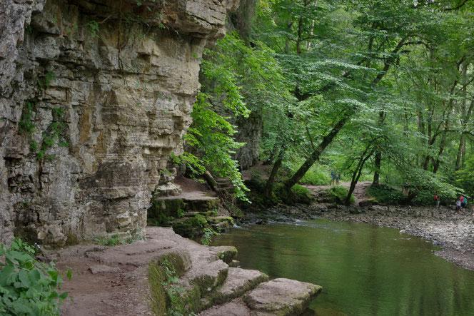 Entlang der Wutach für der Schluchtensteig in die Wutachschlucht hinein. Viele Buchten laden zum Picnic mit der Familie im Urlaub im Hochschwarzwald ein.