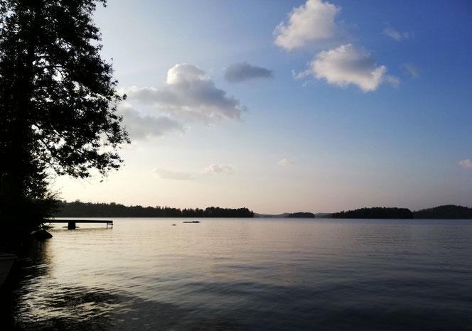 See Schweden ruhig See Wolken Himmel Panorama Fotografie nervenkeks Wald Horizont