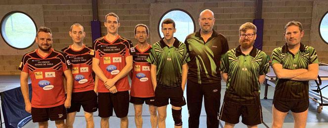 Raphael, Jessy, Laurent et Patrick contre Sylvain D, Fabrice, Mathieu et Sylvain A.