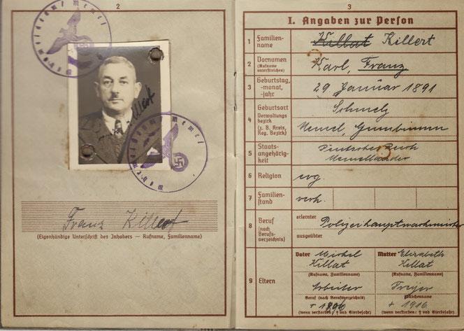 Wehrpass von Franz Killat - Man beachte die Namensänderung