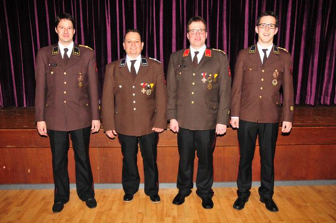 das neue Kommando der FF Mutters, v.l.: Ing. Martin Peer, Joschi Fritz, Martin Tanzer und Florian Zitt