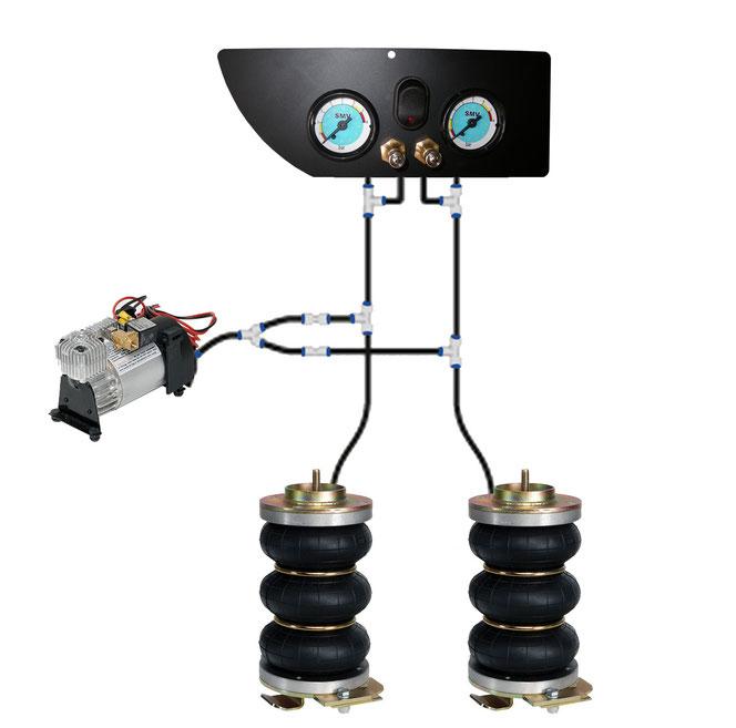 Sospensione Pneumatiche Z8 con sistema a 2 cerchi per la massima sicurezza di guida.