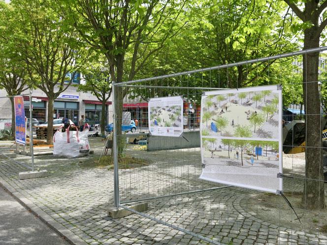 Der Fritz-Lang-Platz in Helle Mitte wird derzeit von Studierenden der Beuth-Hochschule für Technik aufgehübscht.