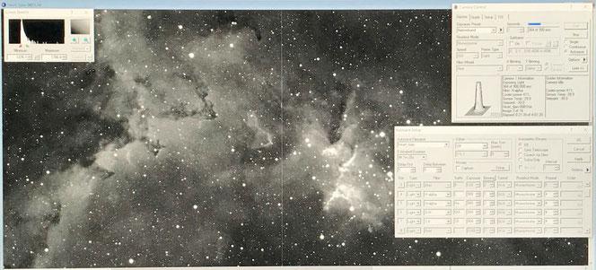 MaximDL-brukergrensnitt slik det så ut under eksponering av Hjertetåken. Dette bildet er eksponert i kun femten minutter i hydrogen-alfa. Det viser detaljer som er for lyssvake for øyet å se gjennom teleskopet.