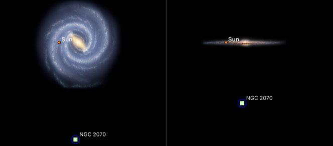 Tarantelltåkens posisjon utenfor Melkeveien, i Den store magellanske skyen. Avstanden fra Solen til Tarantelltåken er ca. 160 000 lysår. Illustrasjon: SkySafari 6