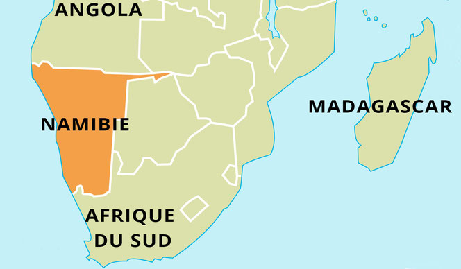 plan de situation de la Namibie