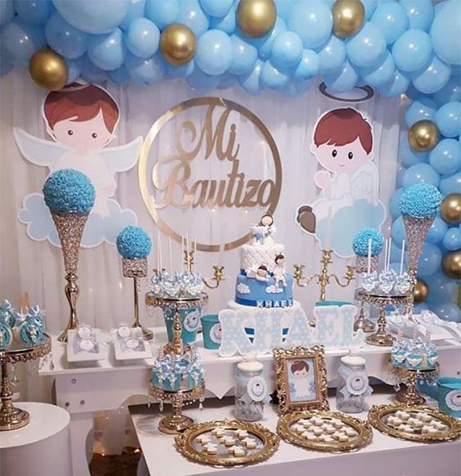 ideas de mesas de dulces para bautizo de niño