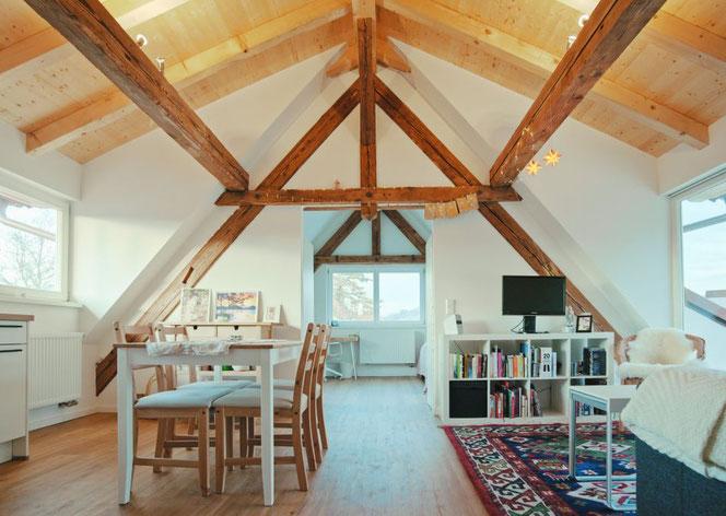 Das Bild zeigt den Wohnraum mit der Küchenzeile