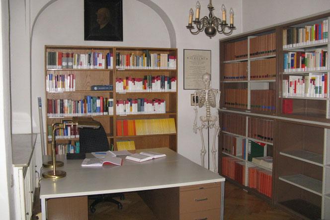 Studierbereich mit Schreibtischen und Regalen für die Bibliothek
