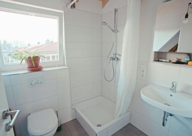 Das Bad ist mit Dusche und WC ausgestattet.
