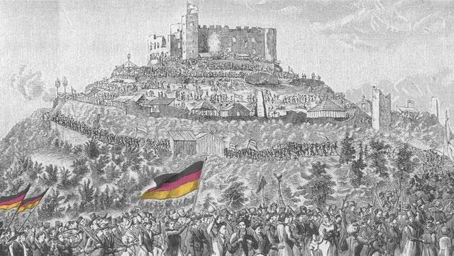 Zug der Bürger und Studenten auf das Hambacher Schloss im Jahr 1832, um ein Zeichen für Bürgerrechte und ein einiges Deutschland zu setzen
