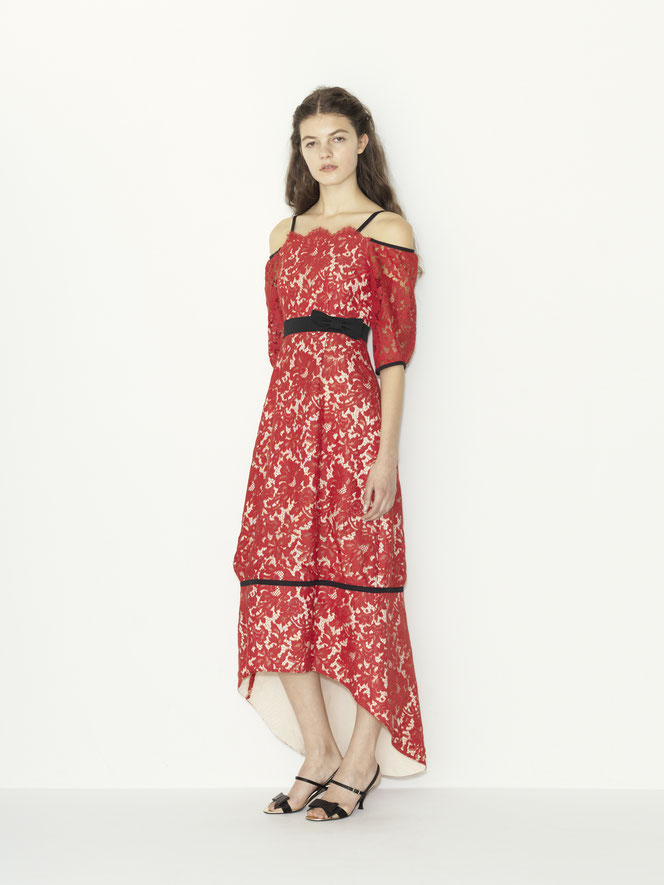 nd-1104/05 red lace x grosgrain ribbon  tail cut color dress