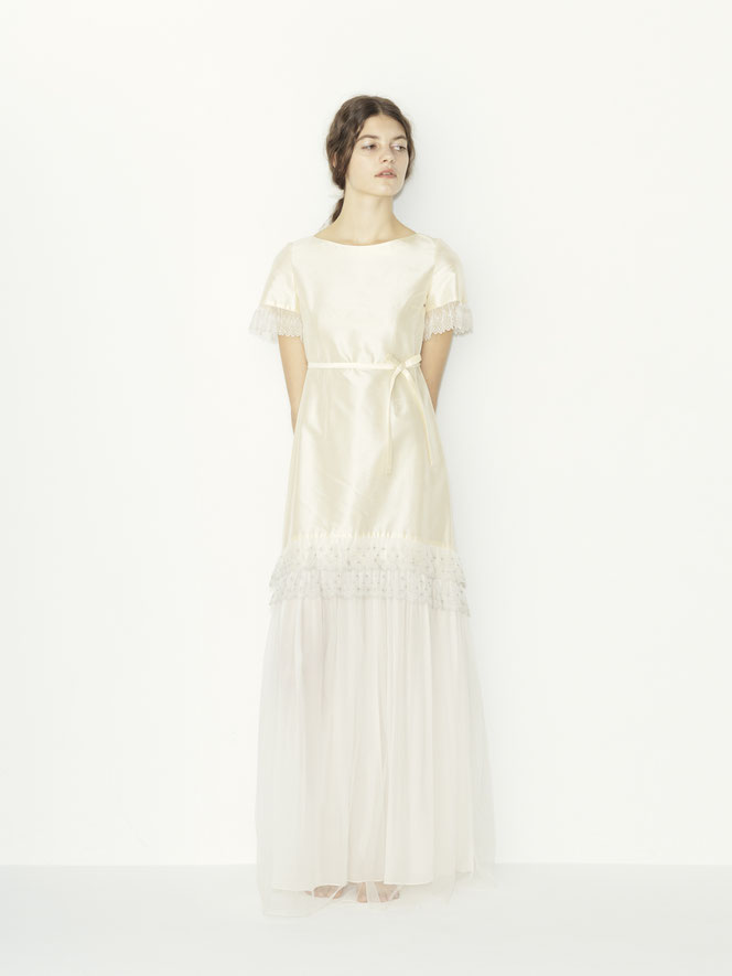 nd-096/11 silk shantung x tulle lace S/S wedding dress