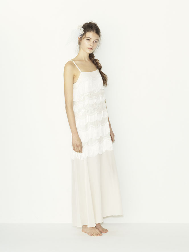 nd-081/08   silk de chin fringe camisole wedding dress