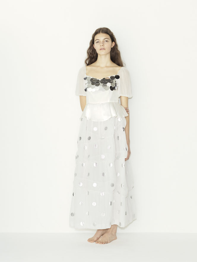 nd-860/01 dots silk yoryu x spangle puff s/s balloon wedding dress