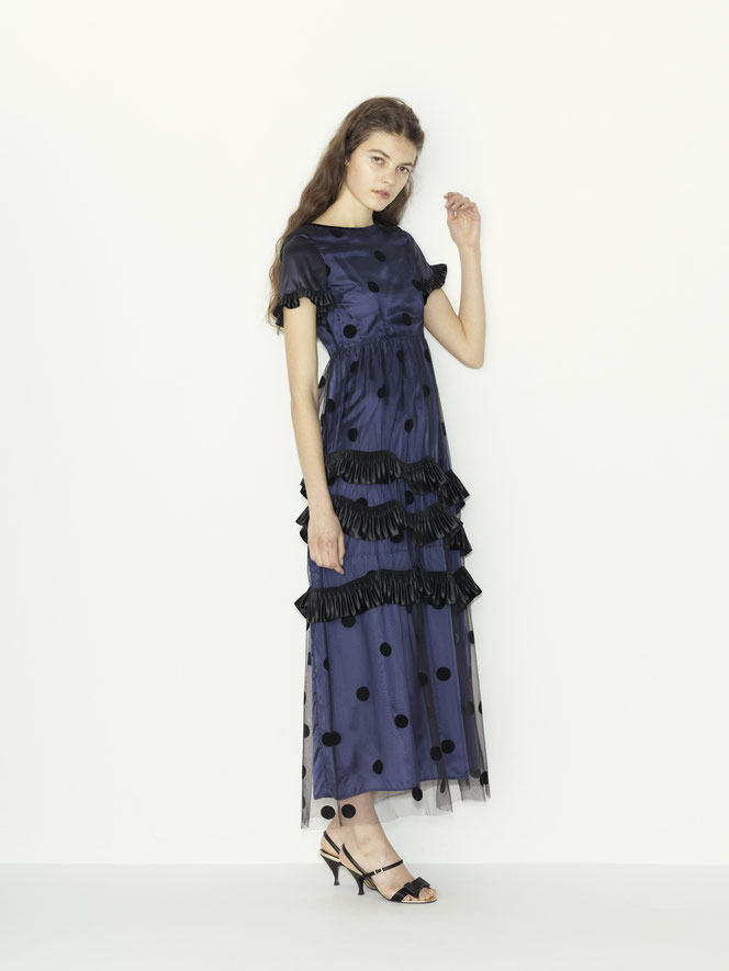 nd-096/12 tulle dots x satin pleats ribbon color dress