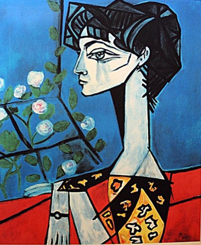 Jacqueline with Flower - Picasso - 1954