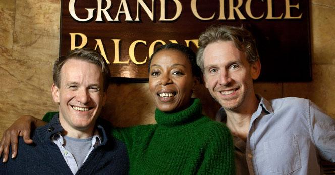 Jamie Parker (Harry Potter), Noma Dumezweni (Hermione Granger) et Paul Thornley (Ron Weasley)