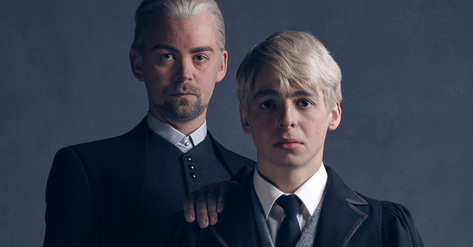 Drago (Alex Price) et Scorpius Malefoy (Anthony Boyle)