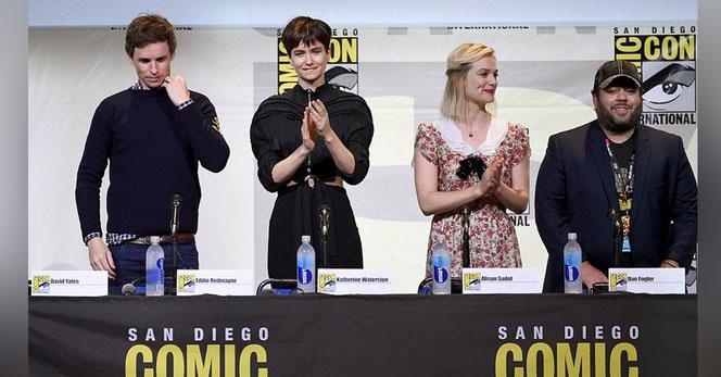 Eddie Redmayne, Katherine Waterston, Alison Sudol et Dan Fogler à la Comic Con