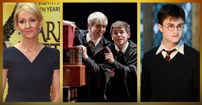JK Rowling (à gauche), Scorpius Malefoy (Anthony Boyle), Albus Potter (Sam Clemmett) et Harry Potter (Daniel Radcliffe)