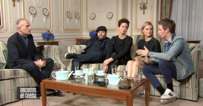Laurent Weil en compagnie de Dan Fogler, Katherine Waterston, Alison Sudol et Eddie Redmayne (Rencontres de cinéma - 13/11/2016 - Canal +)
