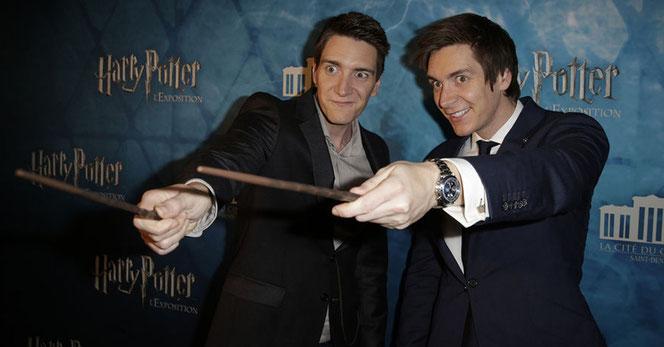 James et Oliver Phelps à la Cité du Cinéma à St Denis le 2 avril 2015 (Crédits : Paris Match)
