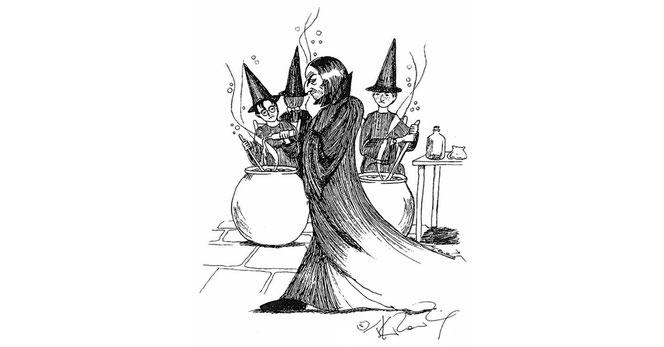 Sur ce dessin, le professeur Rogue arbore un barbe de trois jours devant sa classe de Potions