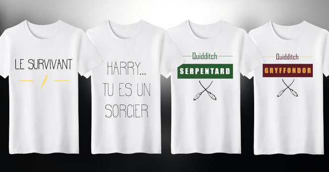 "Les quatres T-shirts de la collection ""Harry Potter"" de notre partenaire Terranoïde"
