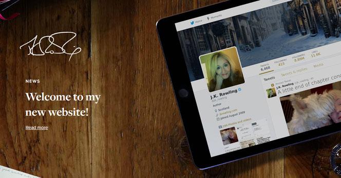 Capture d'écran du site officiel de JK Rowling (jkrowling.com)
