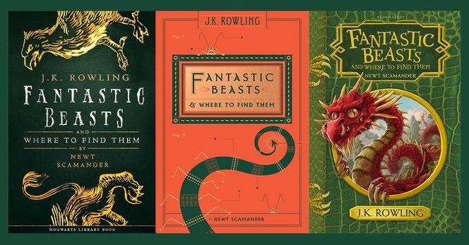 """Les trois couvertures de la nouvelle édition des """"Animaux Fantastiques"""" (Pottermore/Scholastic/ Bloomsbury)"""