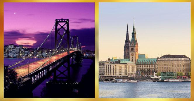 La pièce fera son arrivée à San Francisco (à gauche) en 2019 et à Hambourg (à droite) en 2020