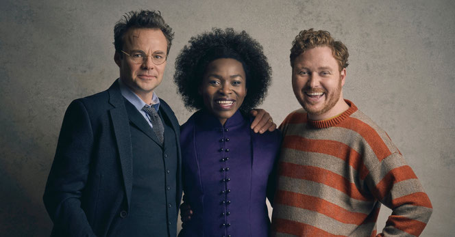 Jamie Glover (Harry Potter), Rakie Ayola (Hermione Granger) et Thomas Aldridge (Ron Weasley)