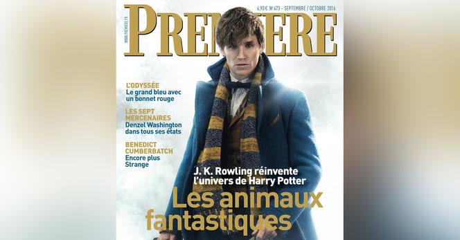 """Le héros des """"Animaux Fantasitques"""" fait la une du numéro de Septembre/Octobre du magazine français Premiere"""