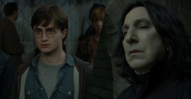 """Harry dans """"Harry Potter et les reliques de la mort - Partie 1"""" (2010) - Severus Rogue dans la Partie 2 (2011)"""