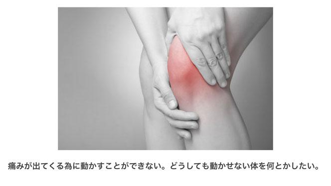 痛みが出てくる為に動かすことができない。どうしても動かせない体を何とかしたい。