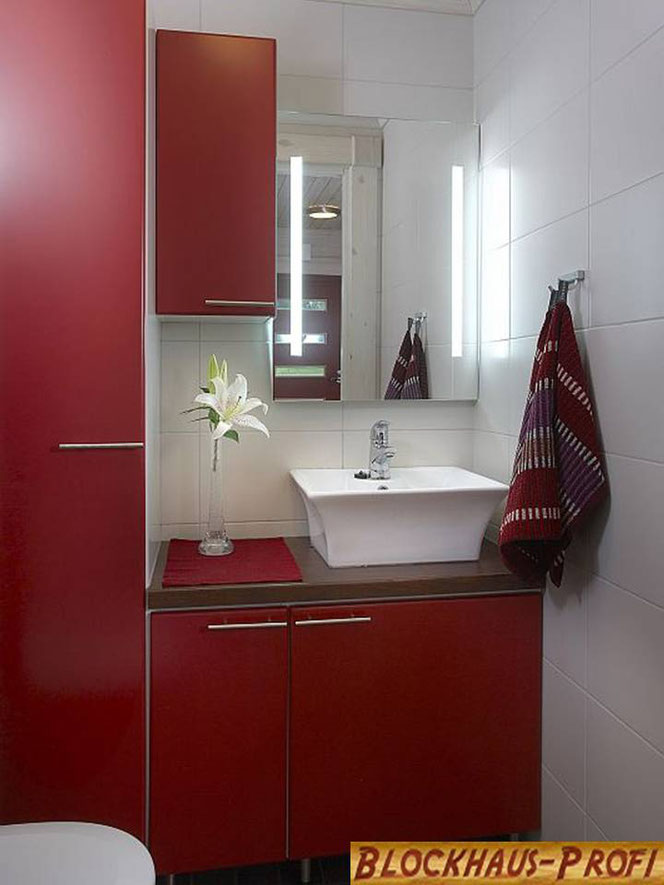 Kleines Blockhaus als Wohnhaus - Bad im Singlehaus
