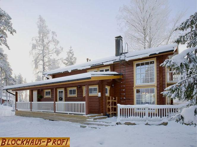 Wohnblockhaus in Nordfinnland - Massivholzhaus - Blockhausbau - Hausbau - Architektenhaus - Blockhaus bauen - Eigenleistungen