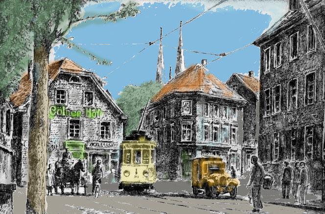 """Solingen, wie es einmal aussah. Optisch sicherlich """"gemütlich"""". In Wirklichkeit war Solingen einst ein armes Dorf und später eine Industrie-Kleinstadt mit allen Vor- und Nachteilen. Vor allem den letzteren. Sie  war eine Boomtow ist inhomogen gewachsen."""