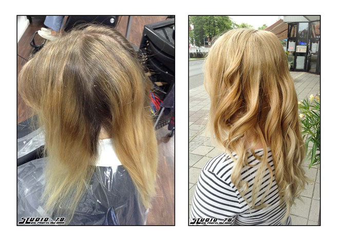 Blond Haarfarbe Coloration vorher nachher