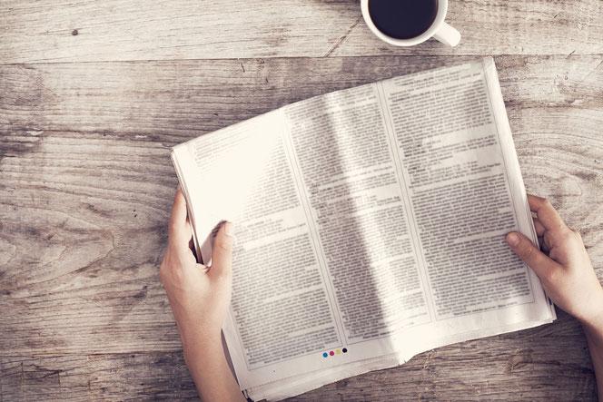 Zeitung, Kaffee, Tisch