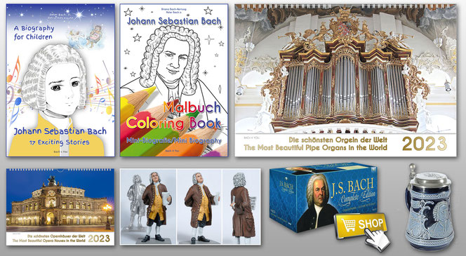 Music gifts which are collected to a medley on one photo: a Bach biography for children book, a coloring book, an organ calendar, an opera house calendar, a Bach tin figure and a Bach music complete edition. All is on grey background.