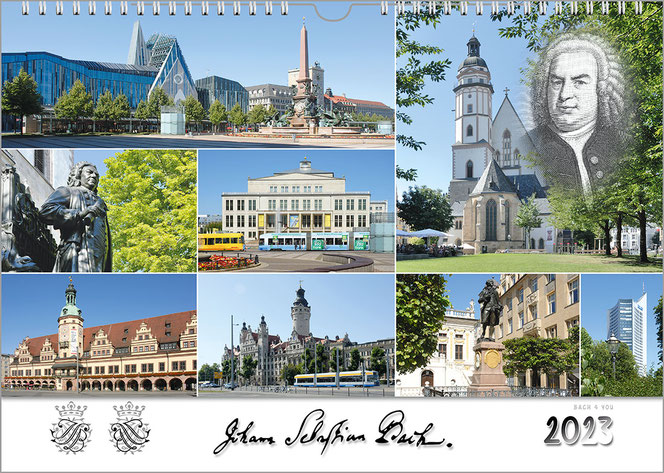 A Bach Calendar. There are many squares of Bach cities and Bach places, which are all color photos. At the bottom there is a white line, where the signature of JSB is loacated. To the left there are 2 Bach seals, in the lower left corner is the year.