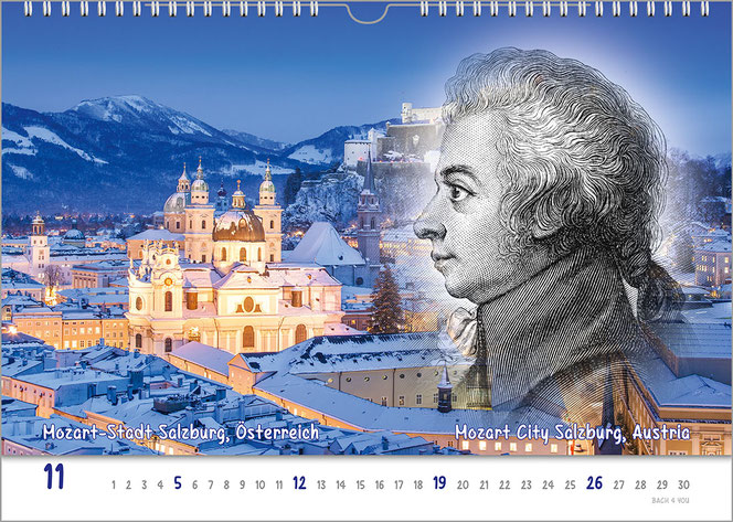 Gift for Musicians: A composers calendar. It is a real life painting of Austrian Strauss with an impressiv beard lokking to the right of my head. The background has parts of blue and grey. There are blue parts all over the pic, too.