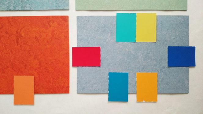 Farbkombinationen, Böden und Wände; Muster, Entwurf.