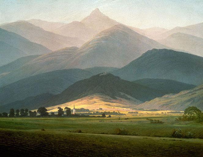 Caspar David Friedrich, Landschaft mit Riesengebirge, ca. 1810.