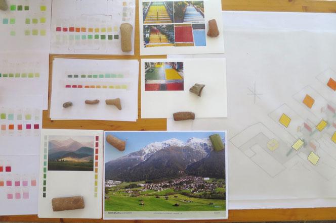 Arbeitstisch mit Farbproben und Materialien, Ägina / Griechenland, 2016.