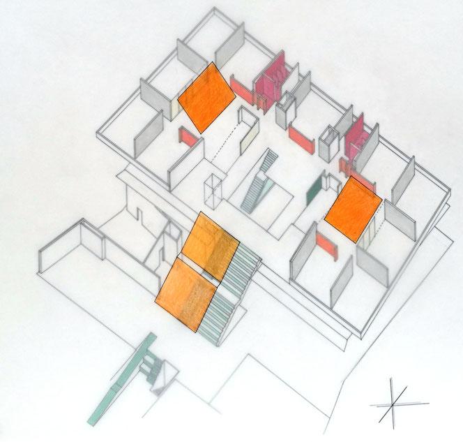 Volksschule, Farben Sheds; Entwurf, Axonometrie